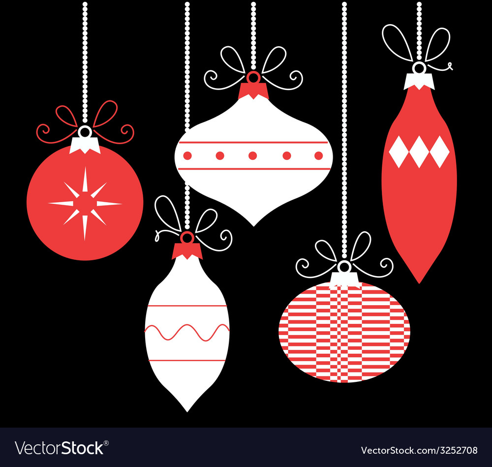 Colorful retro christmas balls isolated on black vector | Price: 1 Credit (USD $1)