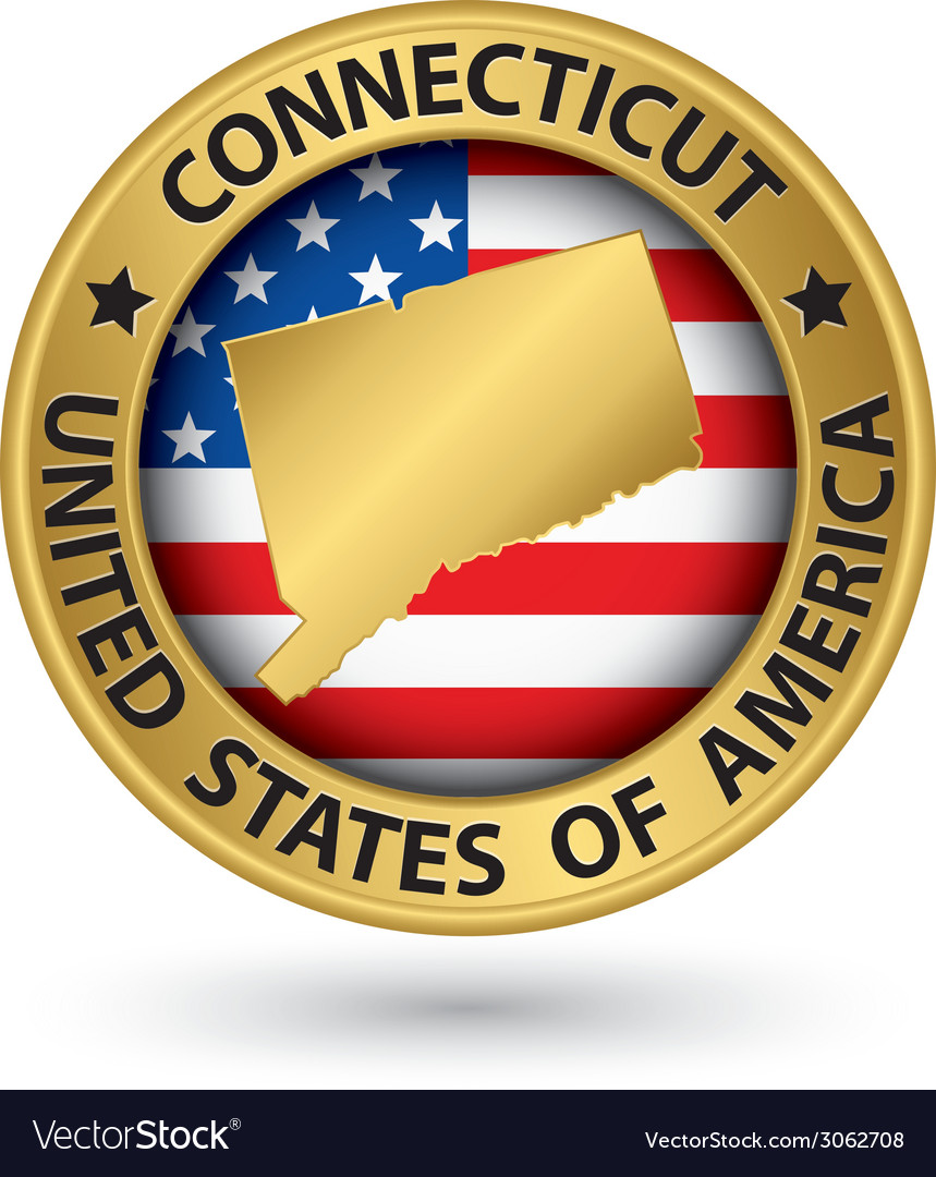 Connecticut state gold label with state map vector   Price: 1 Credit (USD $1)