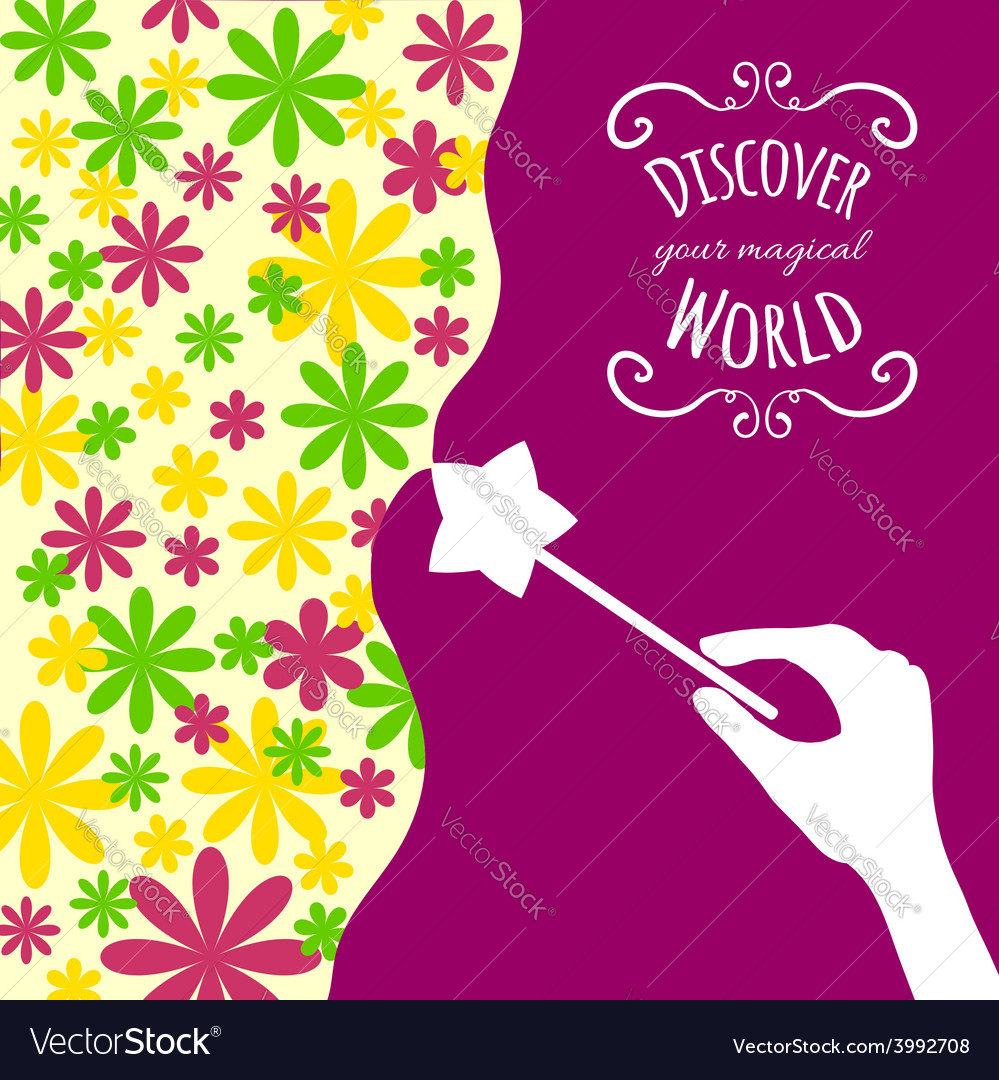 Decorative card with hand holding magic wand vector | Price: 1 Credit (USD $1)