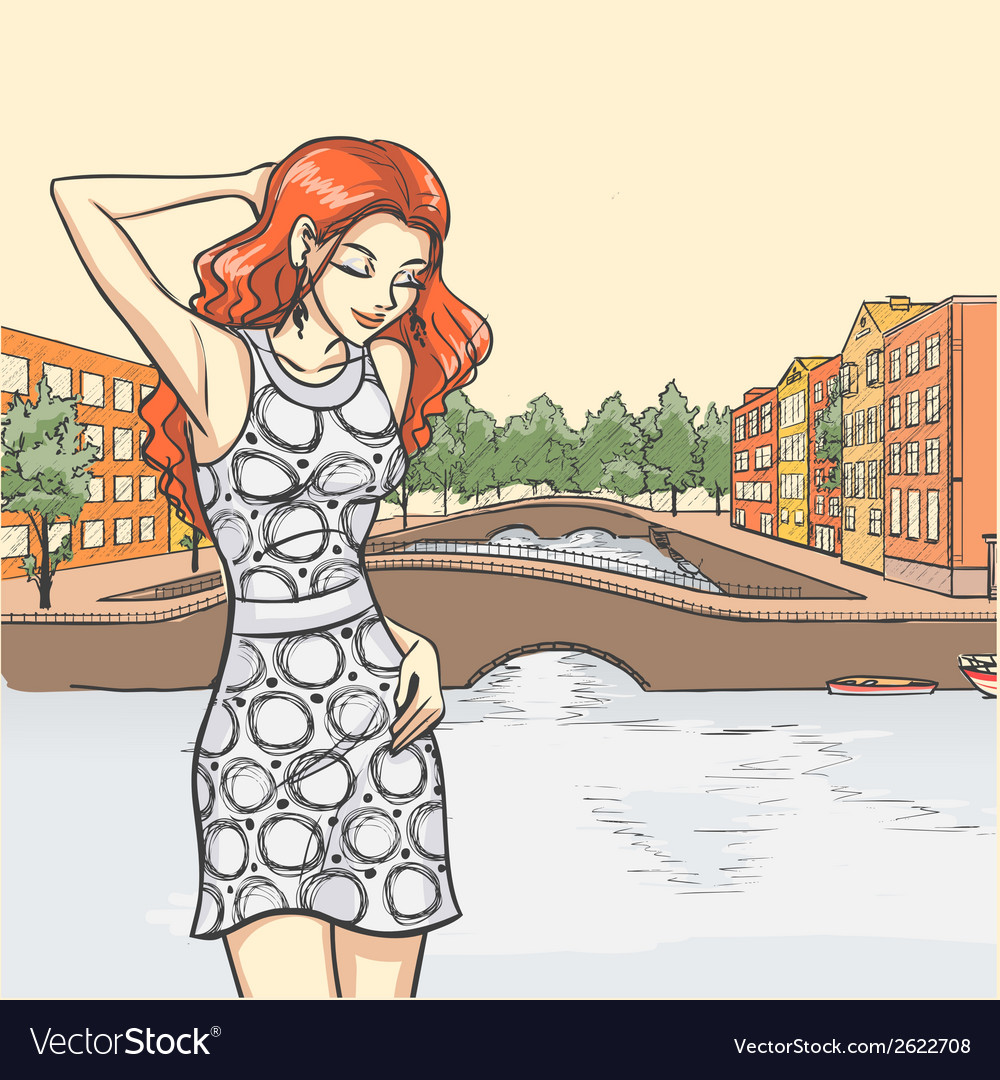 Elegant lady and urban panorama vector | Price: 1 Credit (USD $1)
