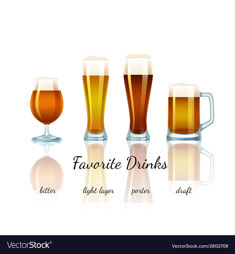 Favorite beer set isolated vector | Price: 1 Credit (USD $1)