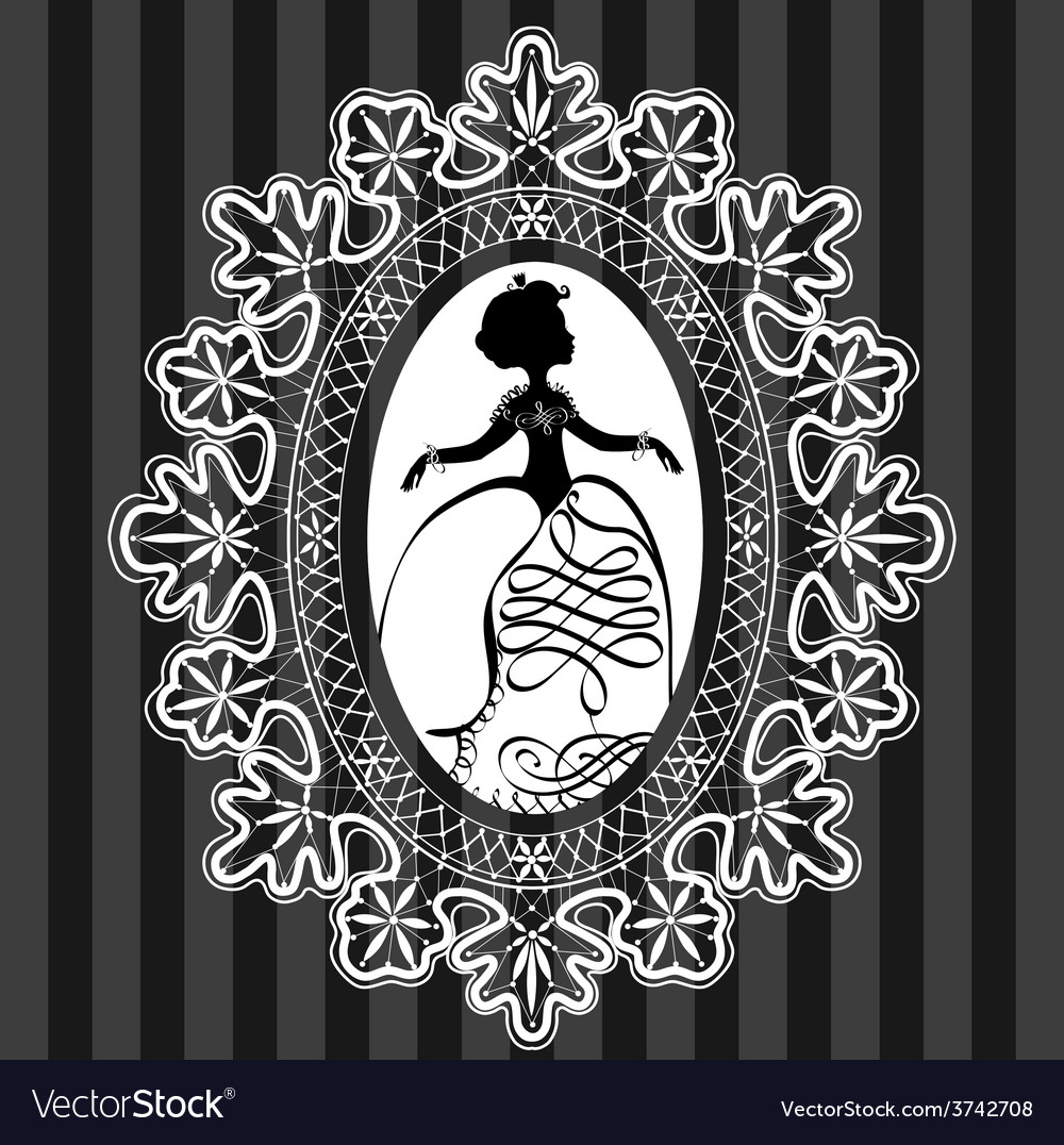 Princess in lace oval frame vector | Price: 1 Credit (USD $1)