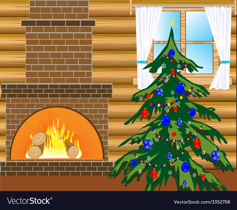 Room with natty fir tree vector | Price: 1 Credit (USD $1)