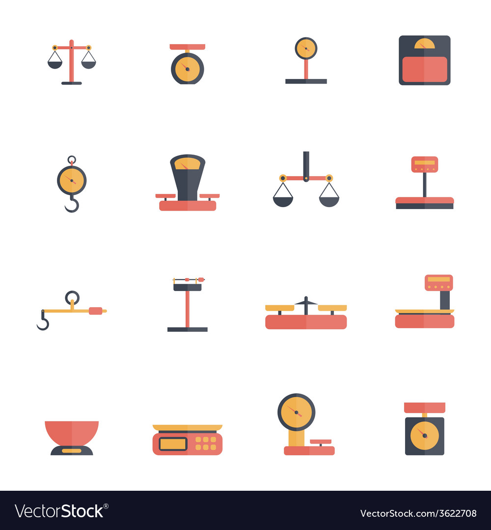 Scales weight icon flat vector | Price: 1 Credit (USD $1)