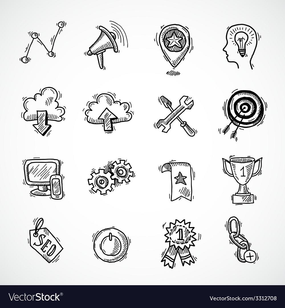 Seo internet marketing sketch set vector | Price: 1 Credit (USD $1)
