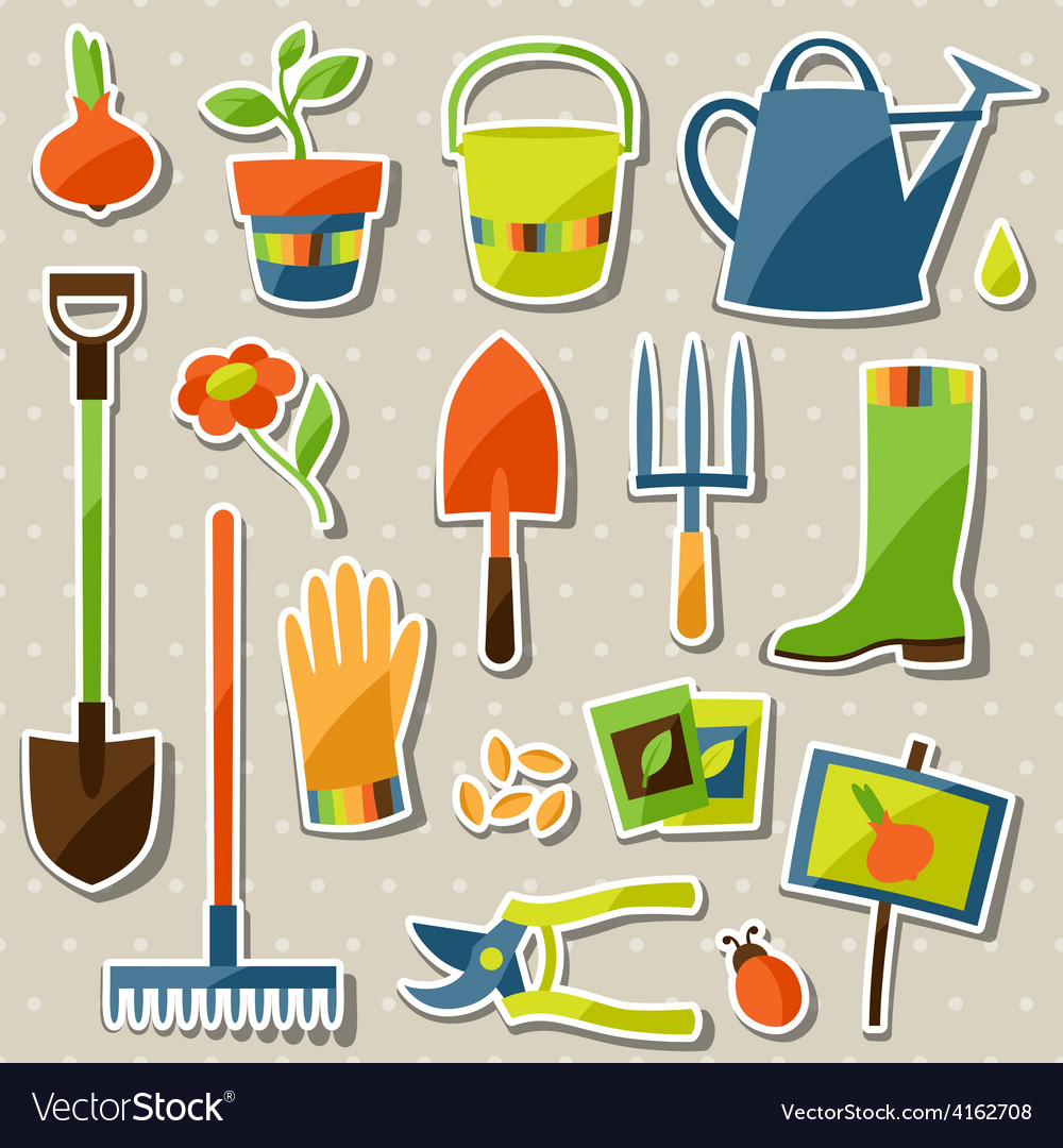 Set of garden sticker design elements and icons vector | Price: 3 Credit (USD $3)