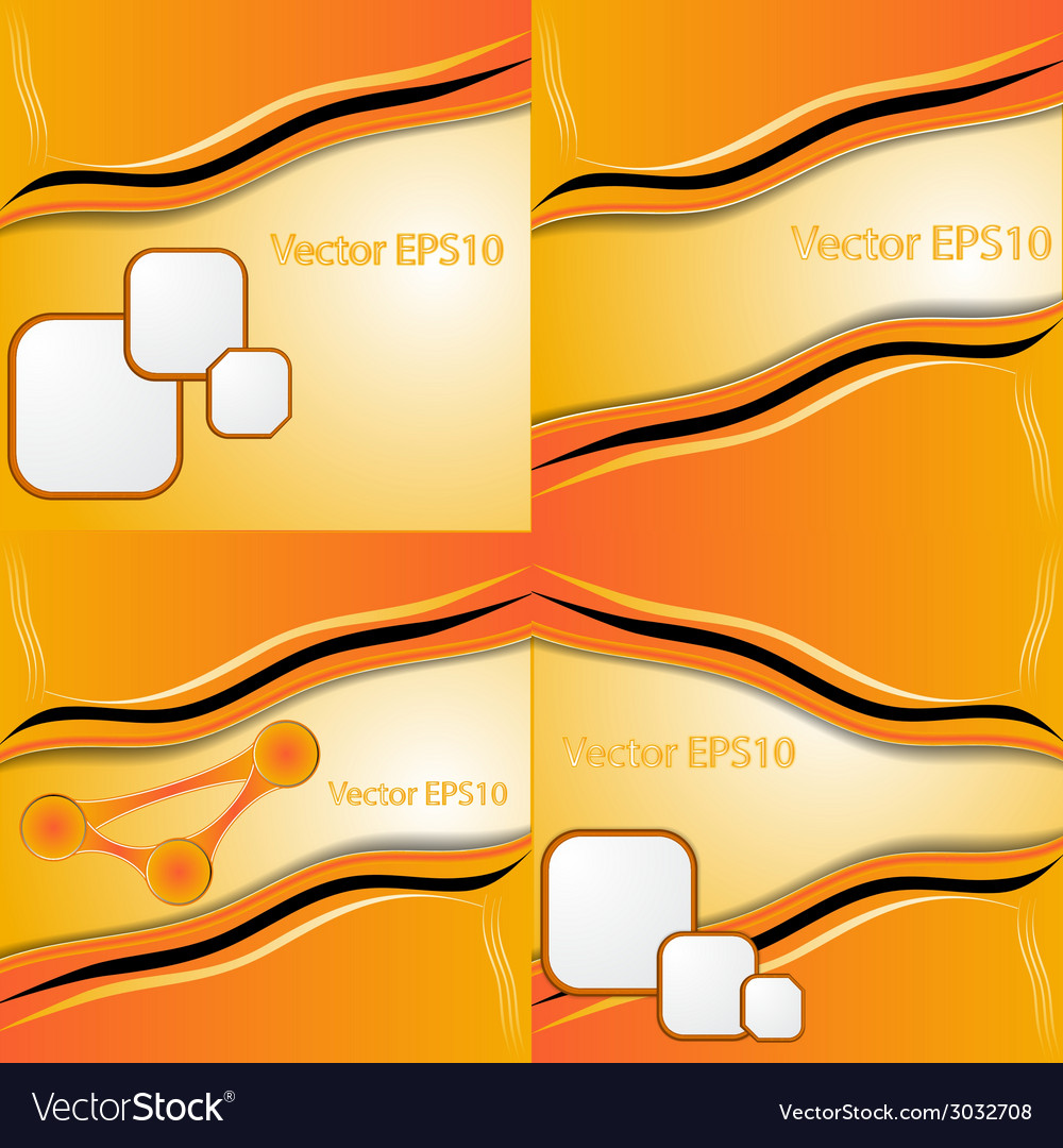 Set of orange and yellow abstract art water colour vector | Price: 1 Credit (USD $1)