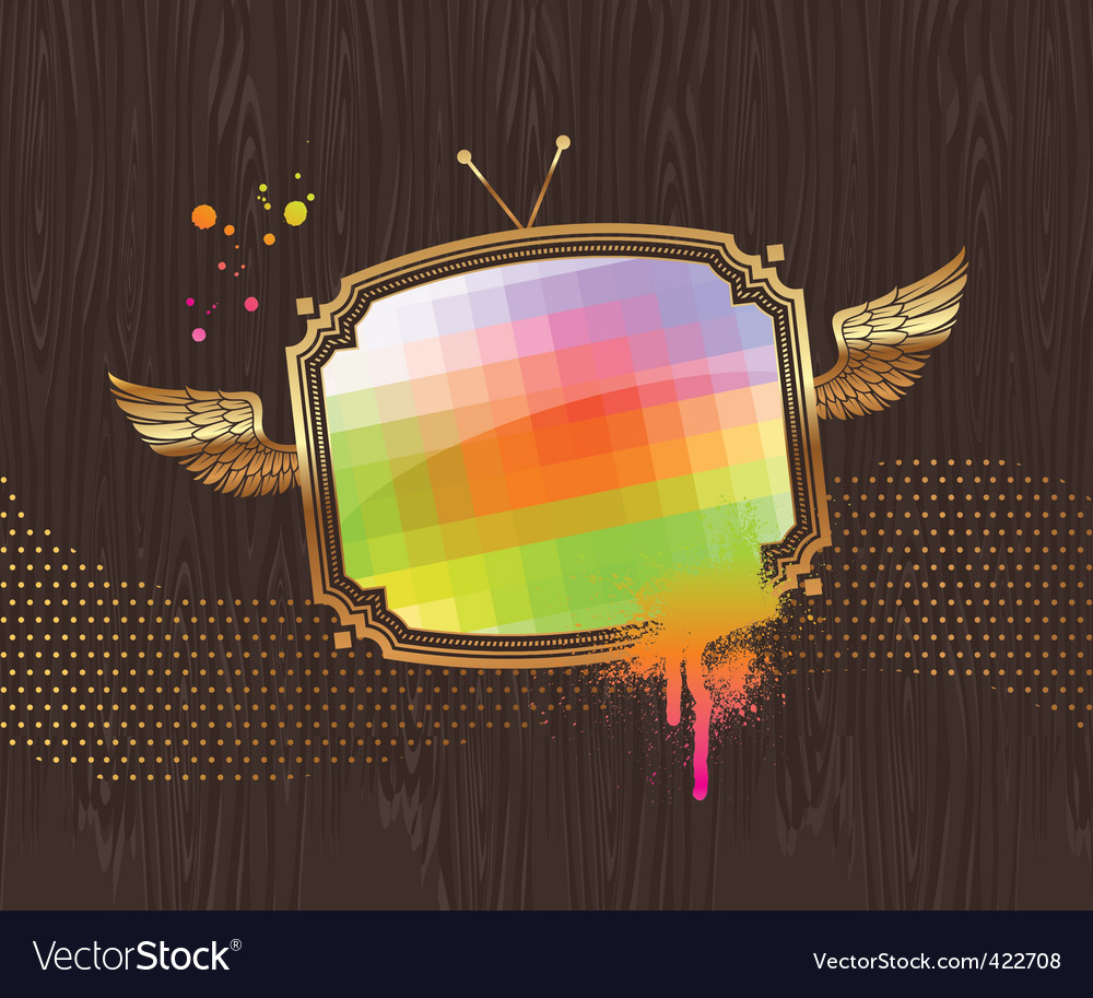 Vintage tv screen vector | Price: 3 Credit (USD $3)