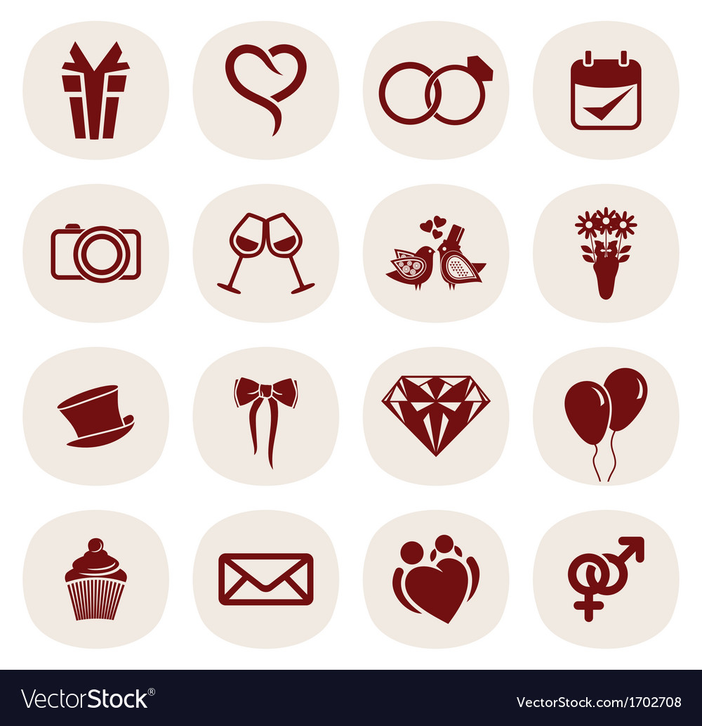 Wedding icons2 resize vector | Price: 1 Credit (USD $1)