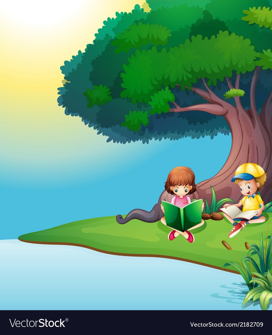 A boy and a girl reading under the tree vector | Price: 1 Credit (USD $1)