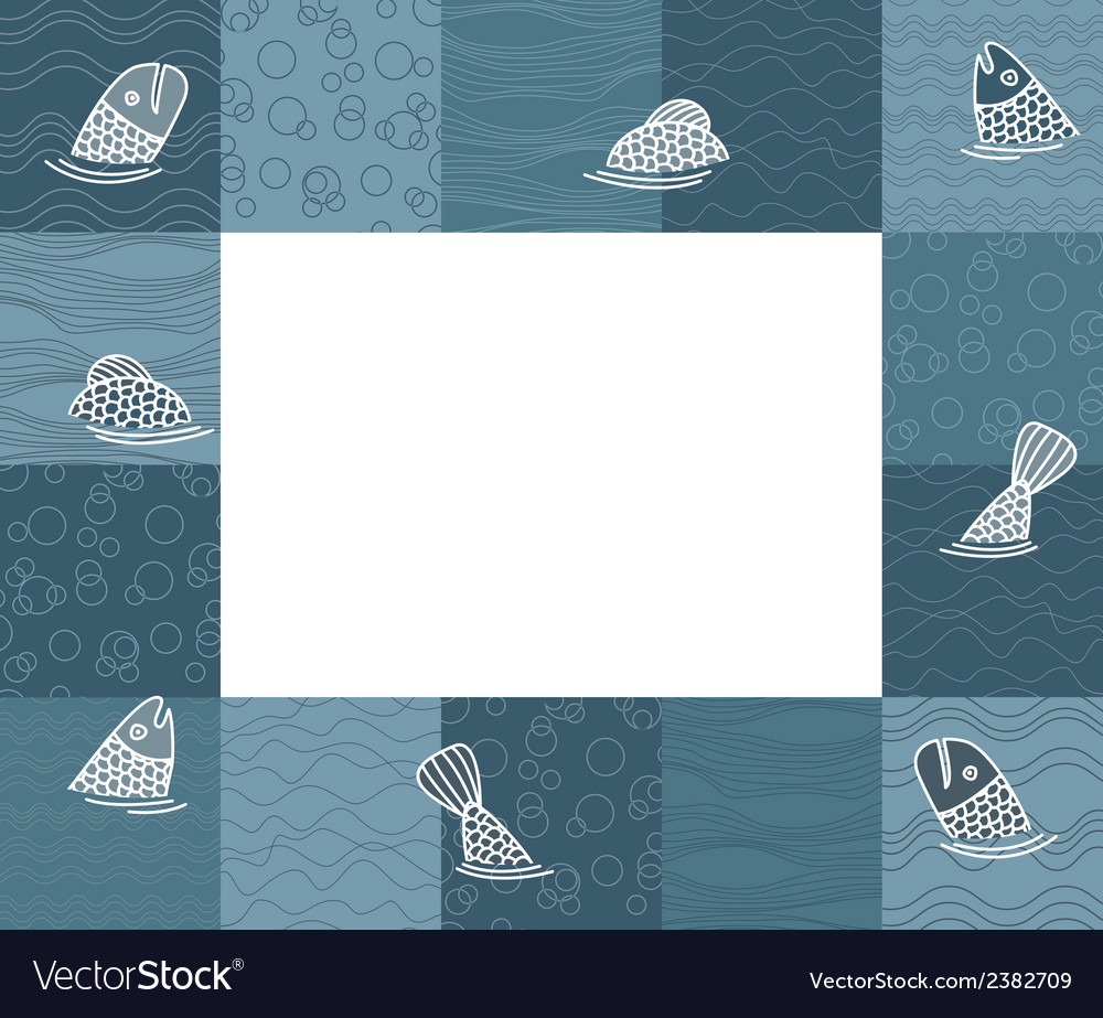 Baby photo frame or card with fishes vector | Price: 1 Credit (USD $1)