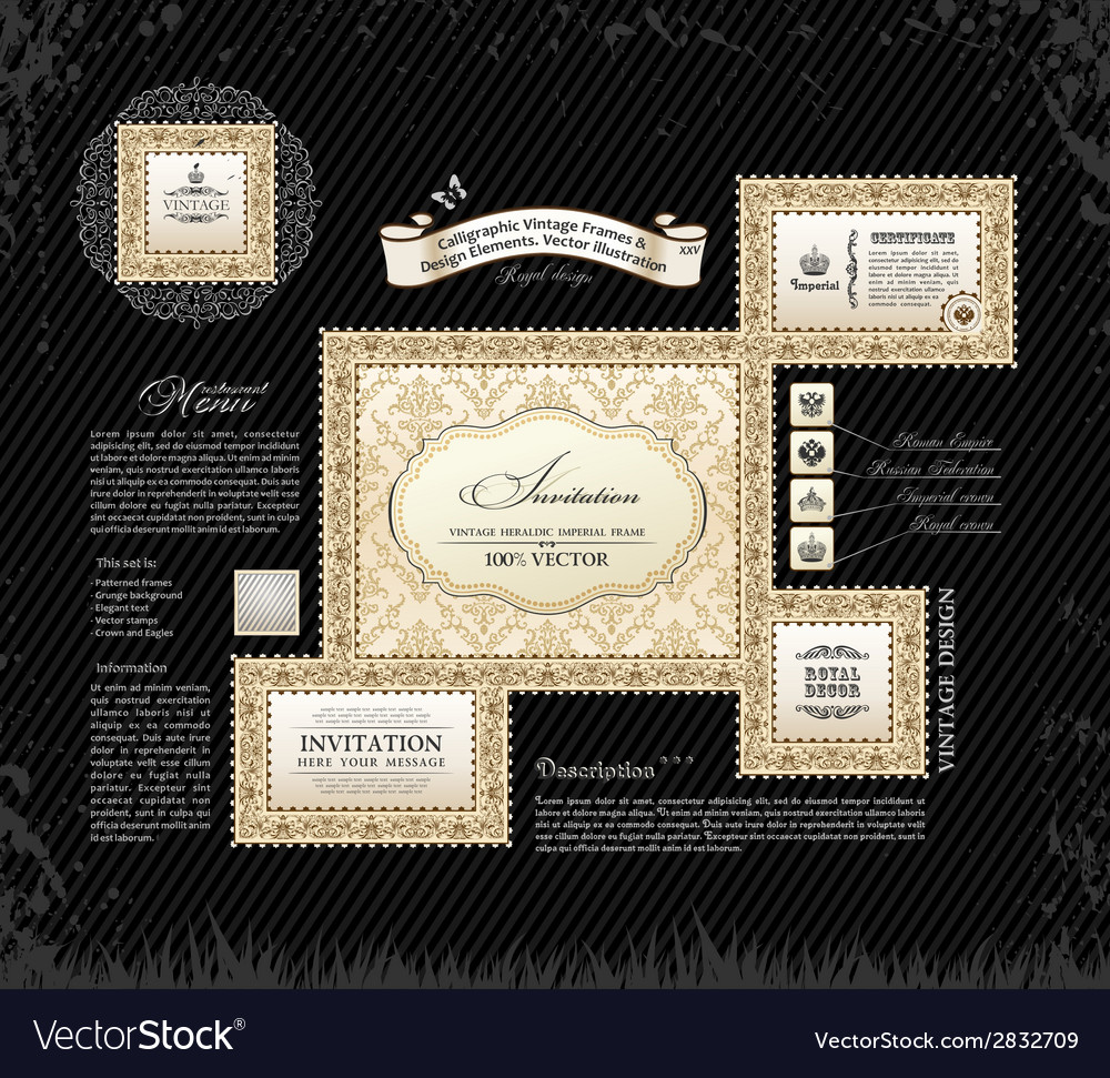 Calligraphic vintage frames and design ornament vector | Price: 1 Credit (USD $1)