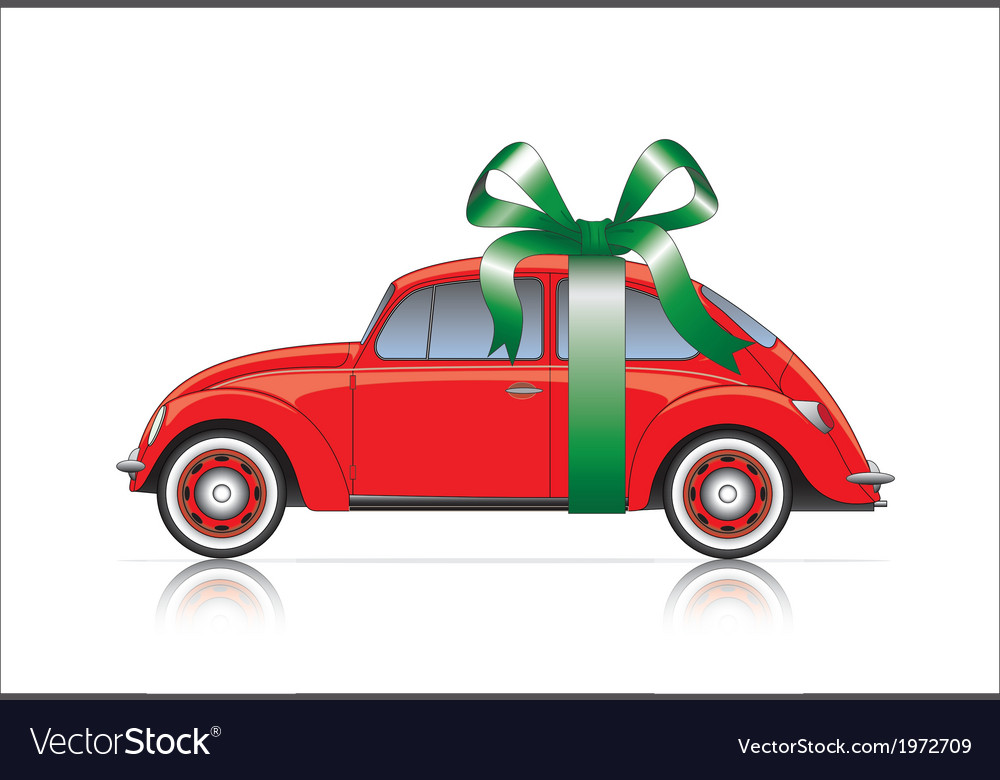 Compact red car with ribbon vector | Price: 1 Credit (USD $1)