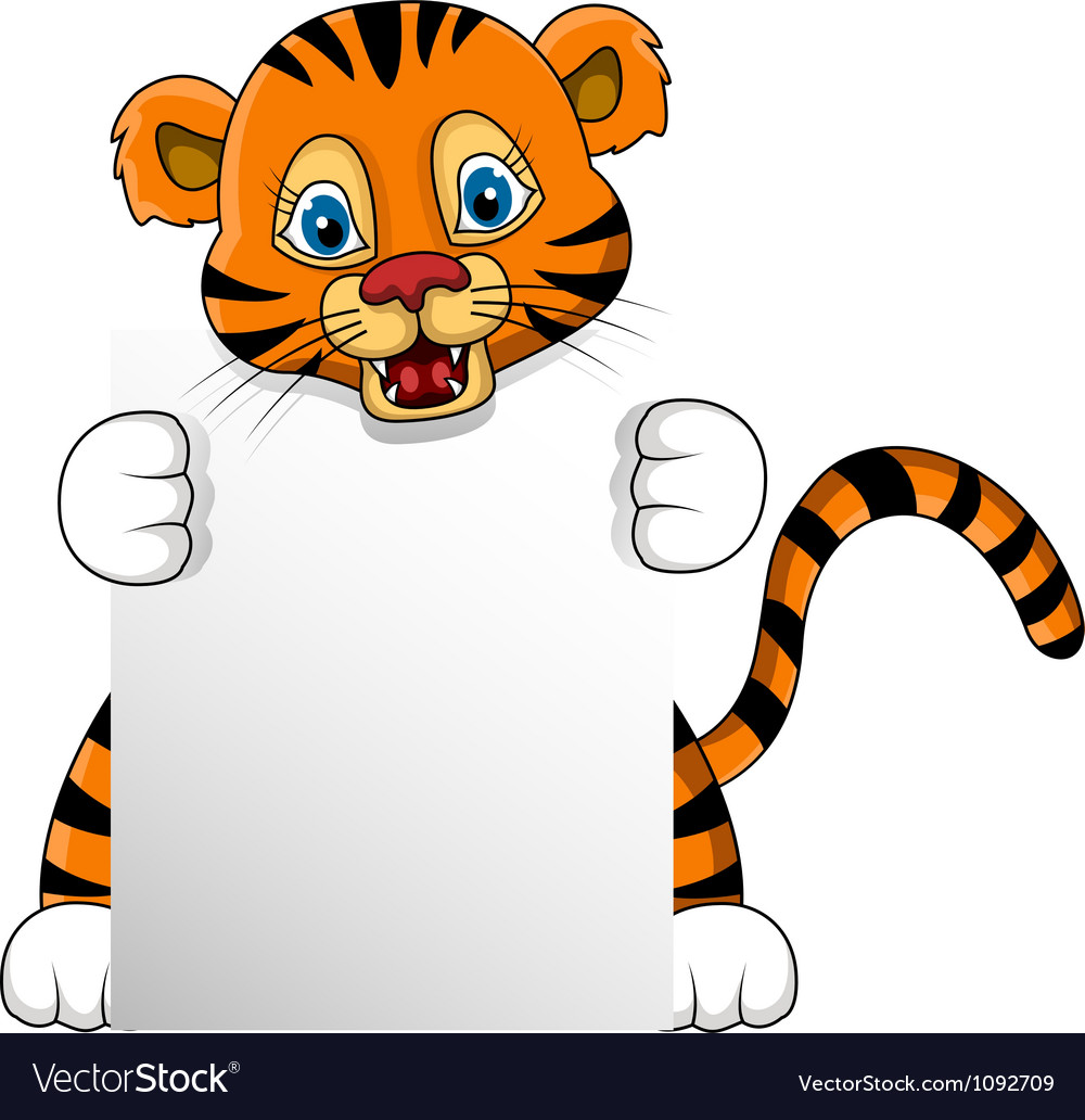 Cute young tiger cartoon with blank sign vector | Price: 1 Credit (USD $1)