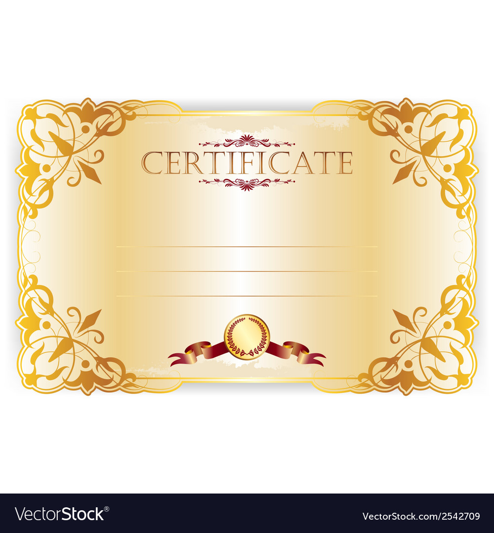 Horizontal royal certificate with lace pattern vector | Price: 1 Credit (USD $1)