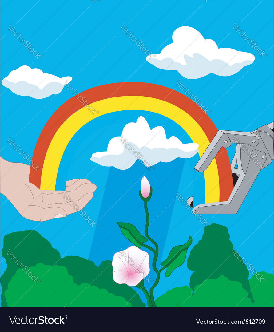 Robot and human hands with a rainbow vector | Price: 1 Credit (USD $1)