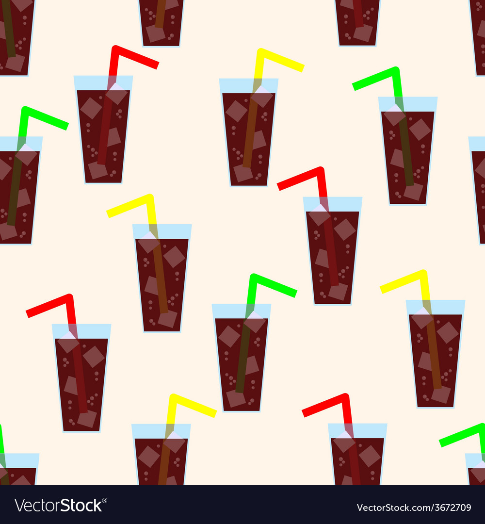 Seamless pattern with glass of cola background vector | Price: 1 Credit (USD $1)