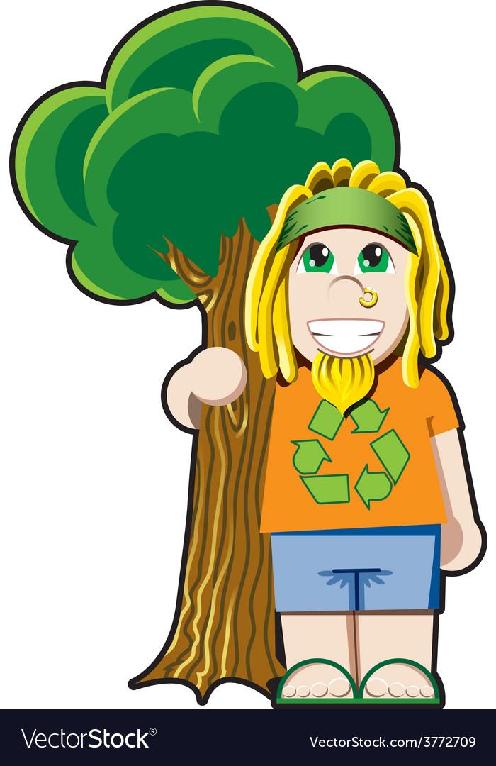 Tree hugger avatar vector | Price: 1 Credit (USD $1)