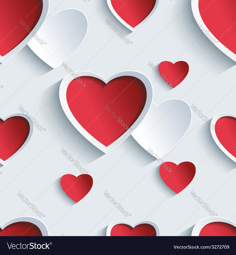 Valentines day seamless pattern with 3d hearts vector | Price: 1 Credit (USD $1)
