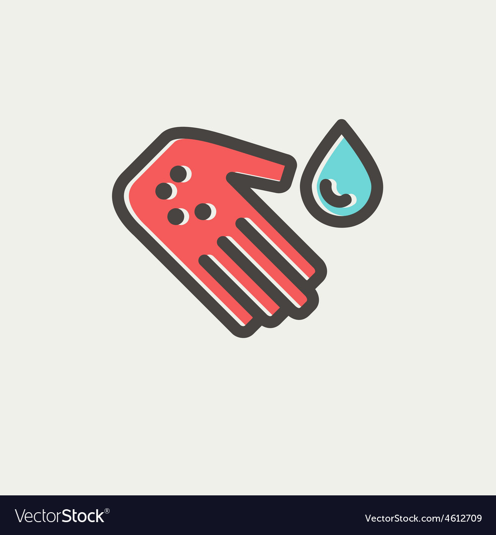 Wash the wound with water thin line icon vector | Price: 1 Credit (USD $1)