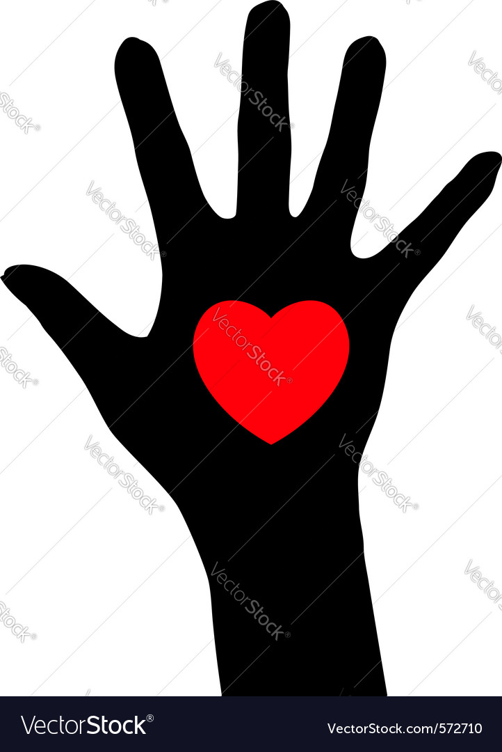Abstract hand with heart vector | Price: 1 Credit (USD $1)