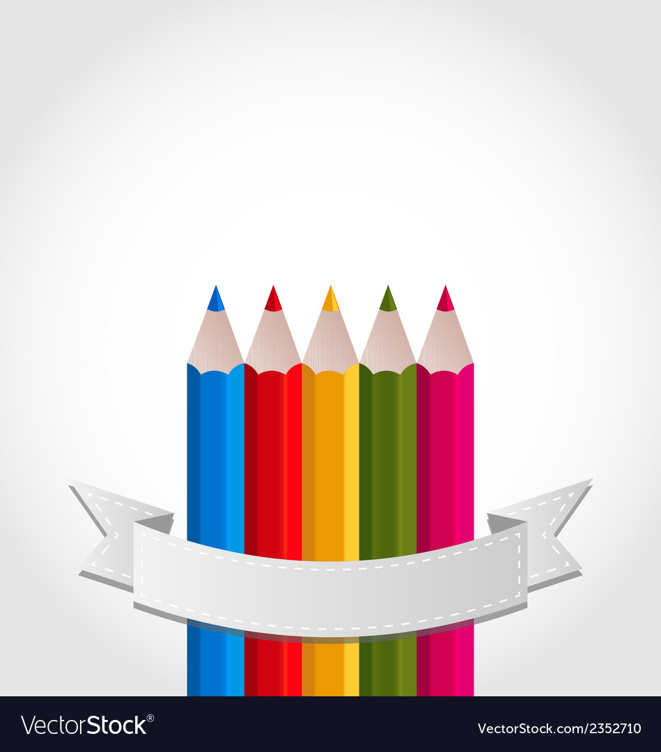 Colorful pencils with ribbon on white background vector | Price: 1 Credit (USD $1)
