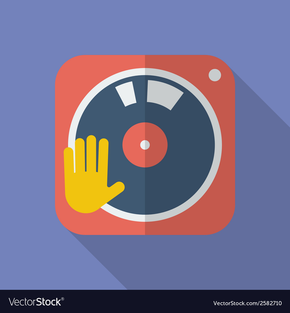 Dj turntable icon modern flat style with a long vector | Price: 1 Credit (USD $1)
