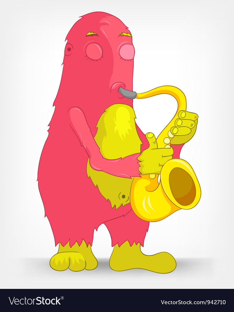 Funny monster saxophonist vector | Price: 3 Credit (USD $3)
