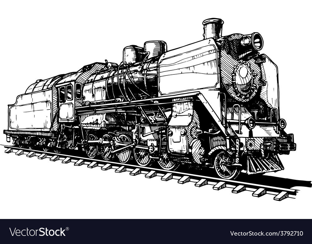 Old steam locomotive vector | Price: 1 Credit (USD $1)