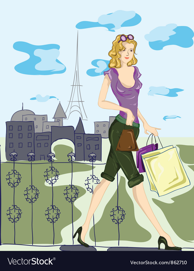 Paris doodles with shopping lady vector | Price: 3 Credit (USD $3)