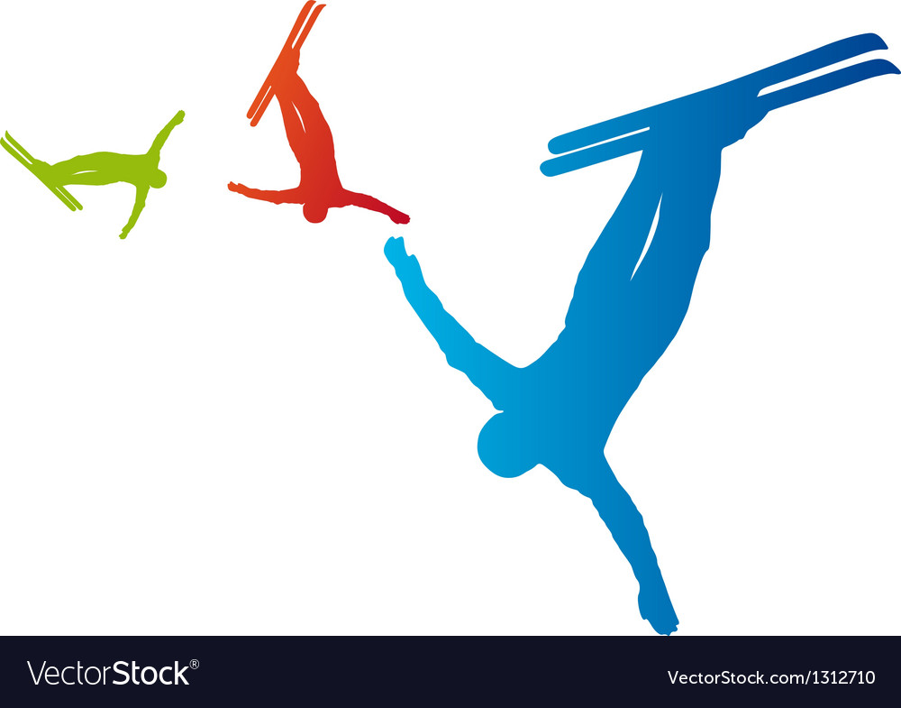 Ski freestyle silhouettes vector   Price: 1 Credit (USD $1)