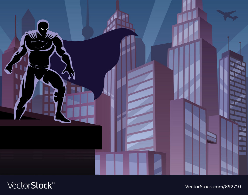 Superhero on roof vector | Price: 1 Credit (USD $1)