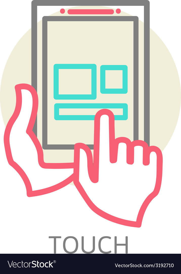 Touch screen tablet pc sign icon vector | Price: 1 Credit (USD $1)