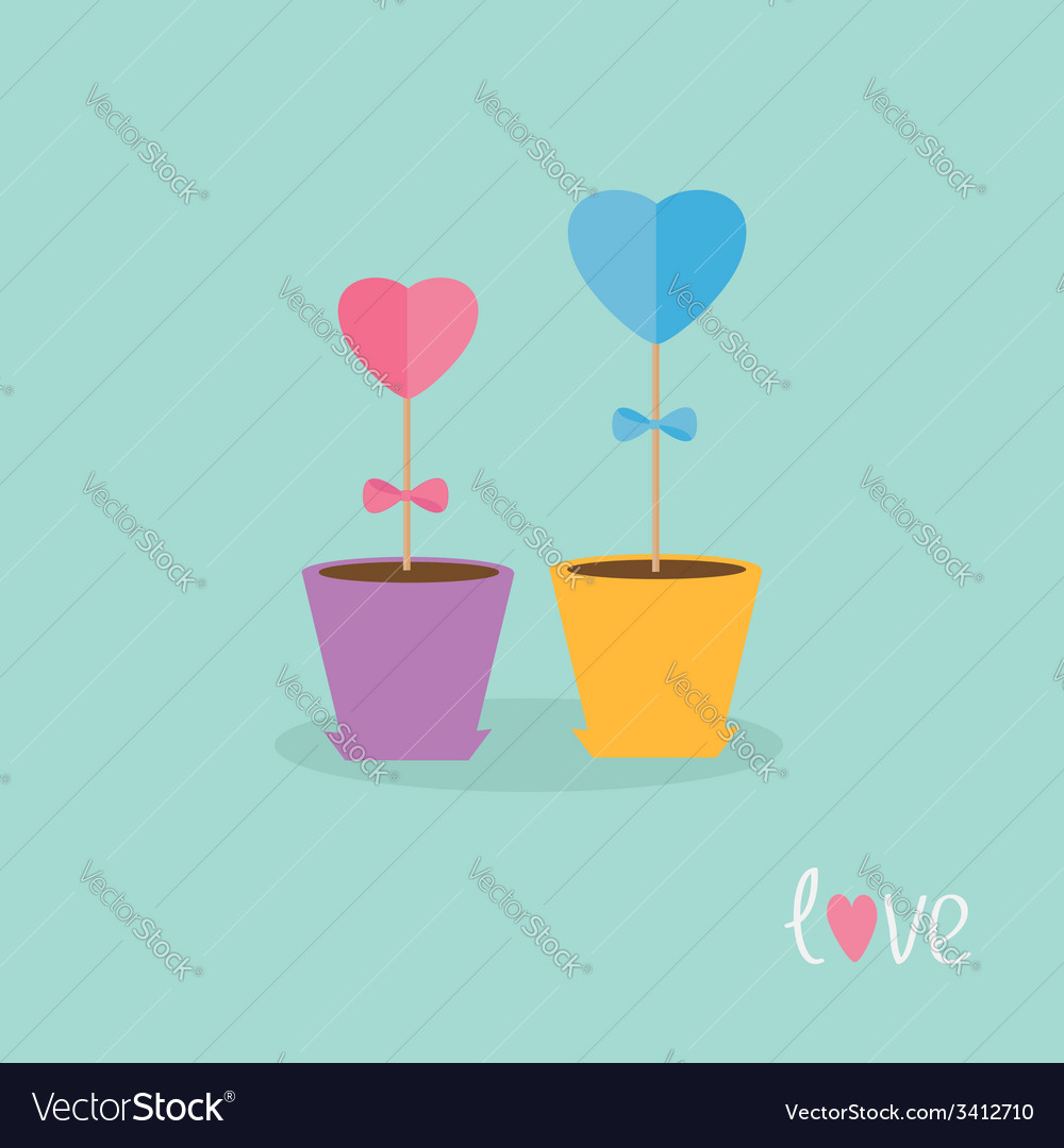 Two heart stick flowers in the pots and word love vector | Price: 1 Credit (USD $1)