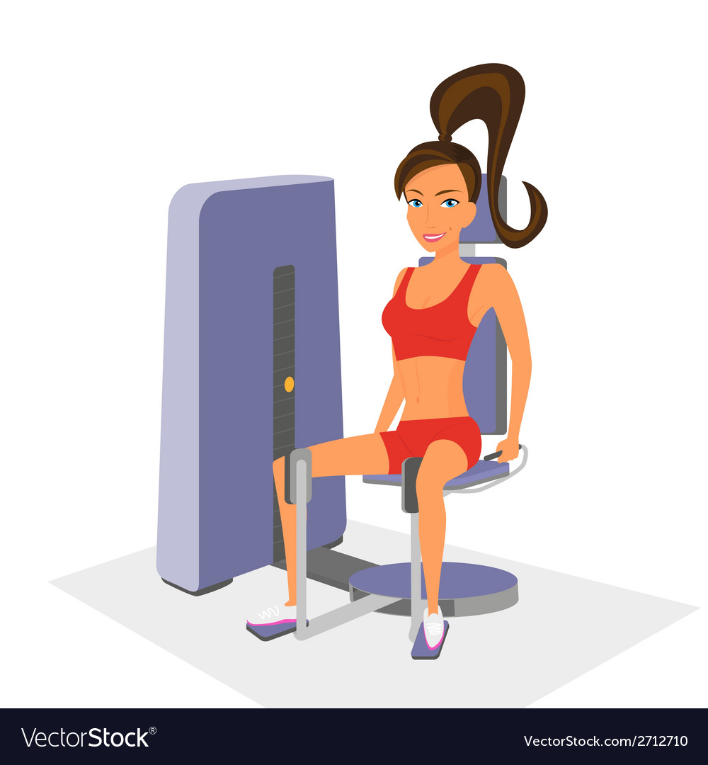 Woman at the gym exercising on a machine isolated vector | Price: 1 Credit (USD $1)