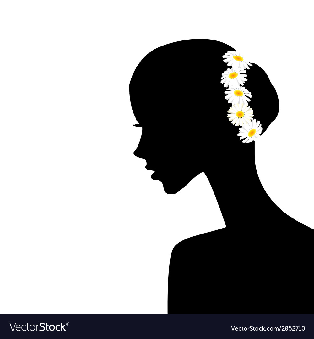 Woman profile with chamomiles in her hair vector | Price: 1 Credit (USD $1)