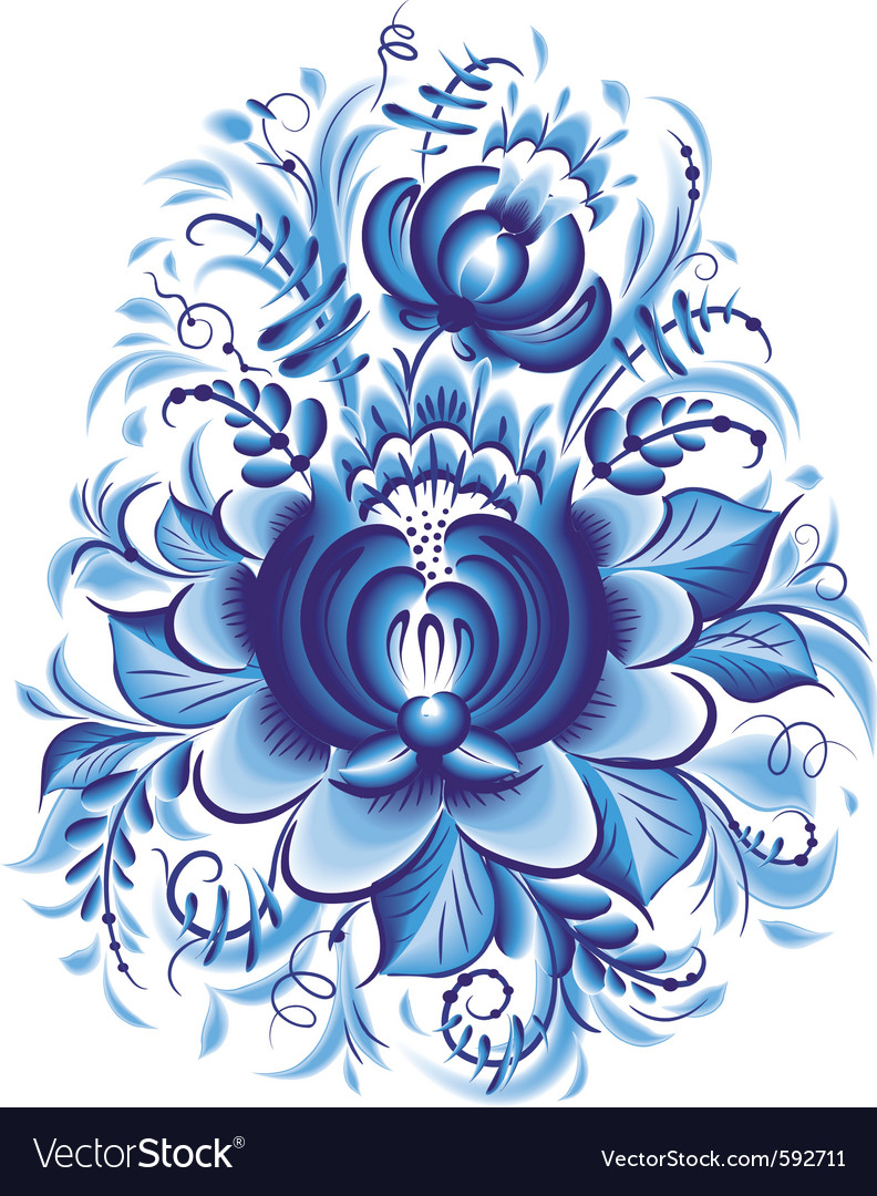 Blue flower in gzhel style vector | Price: 1 Credit (USD $1)
