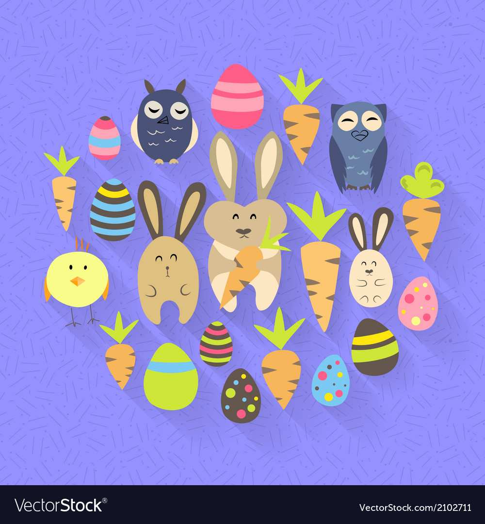 Easter eggs birds rabbits and carrots icons on a vector | Price: 1 Credit (USD $1)