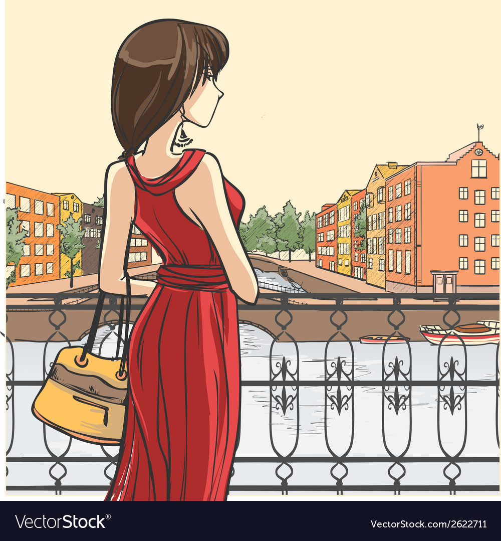Elegant slender lady and urban panorama vector | Price: 1 Credit (USD $1)