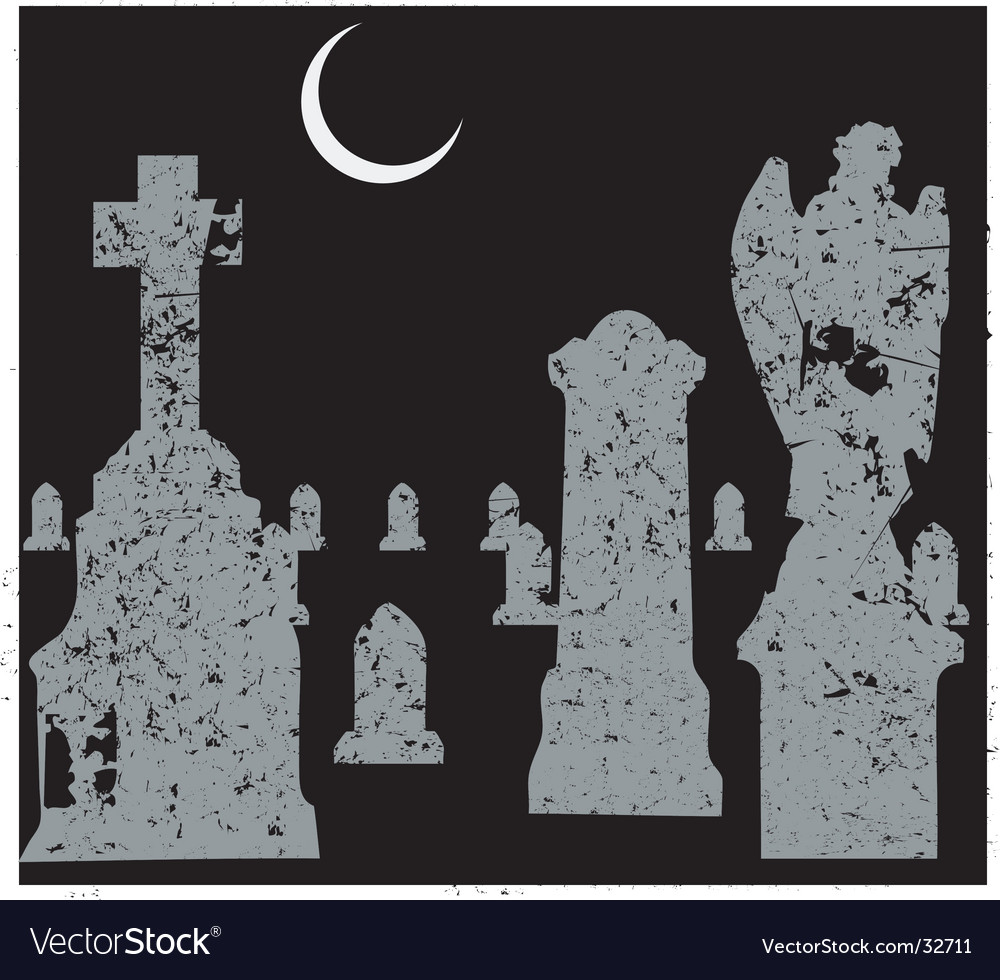 Grave yard scene vector | Price: 1 Credit (USD $1)