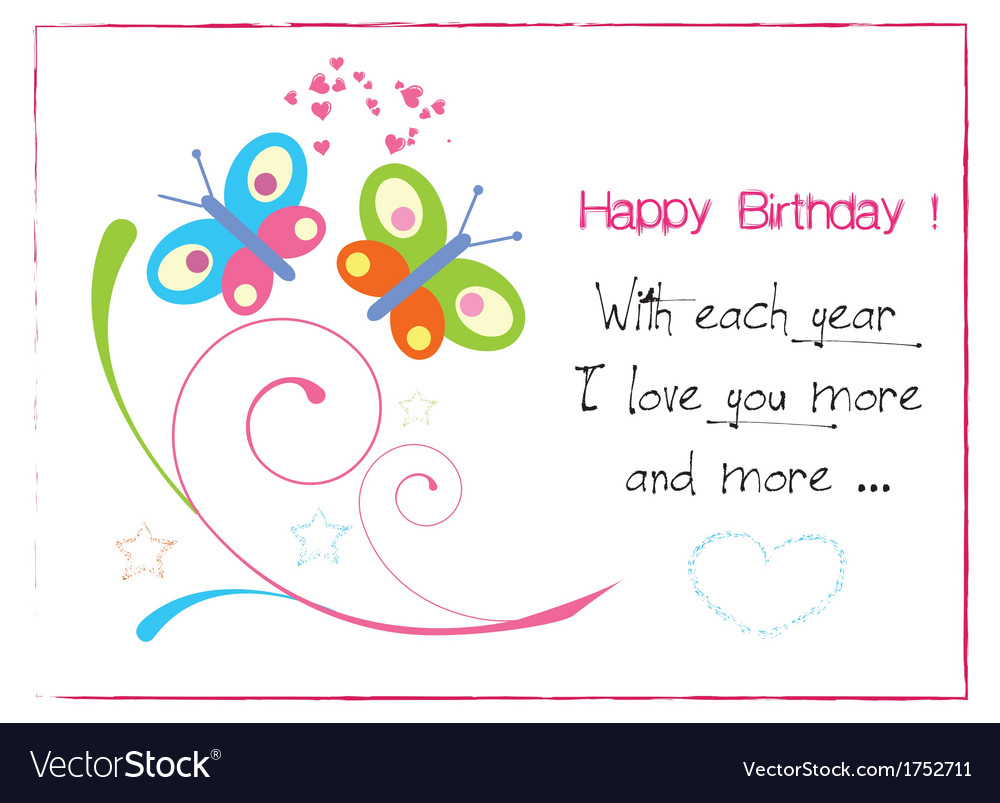 Happy birthday butterfly invitation vector | Price: 1 Credit (USD $1)
