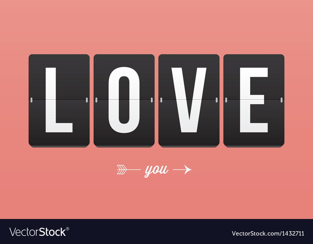 I love you mechanical panel letters vector | Price: 1 Credit (USD $1)