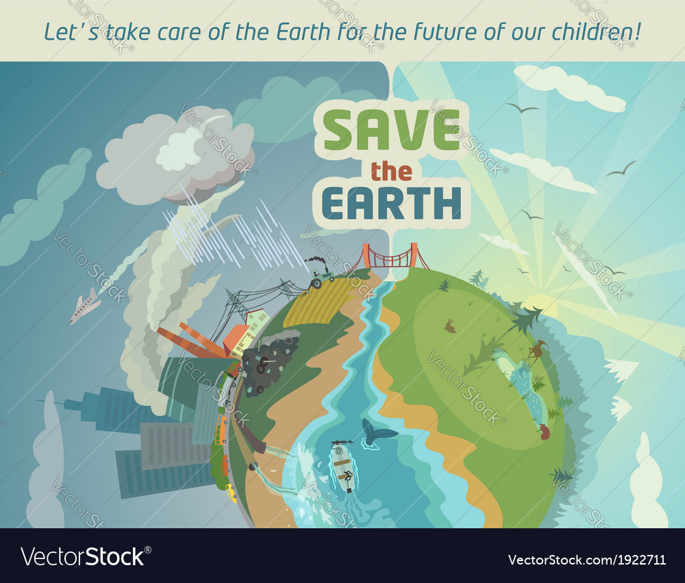 Save the earth eco poster vector | Price: 3 Credit (USD $3)