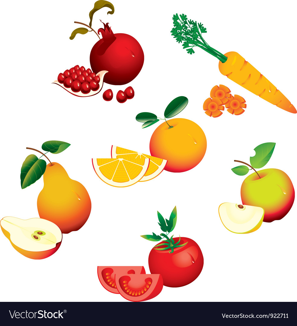 Set of fruits vegetables vector | Price: 1 Credit (USD $1)