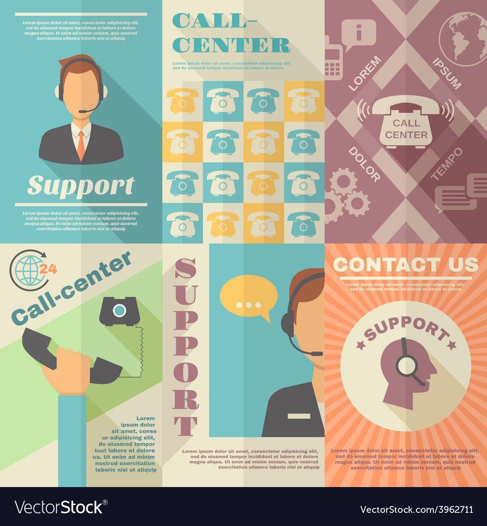 Support call center poster vector | Price: 1 Credit (USD $1)