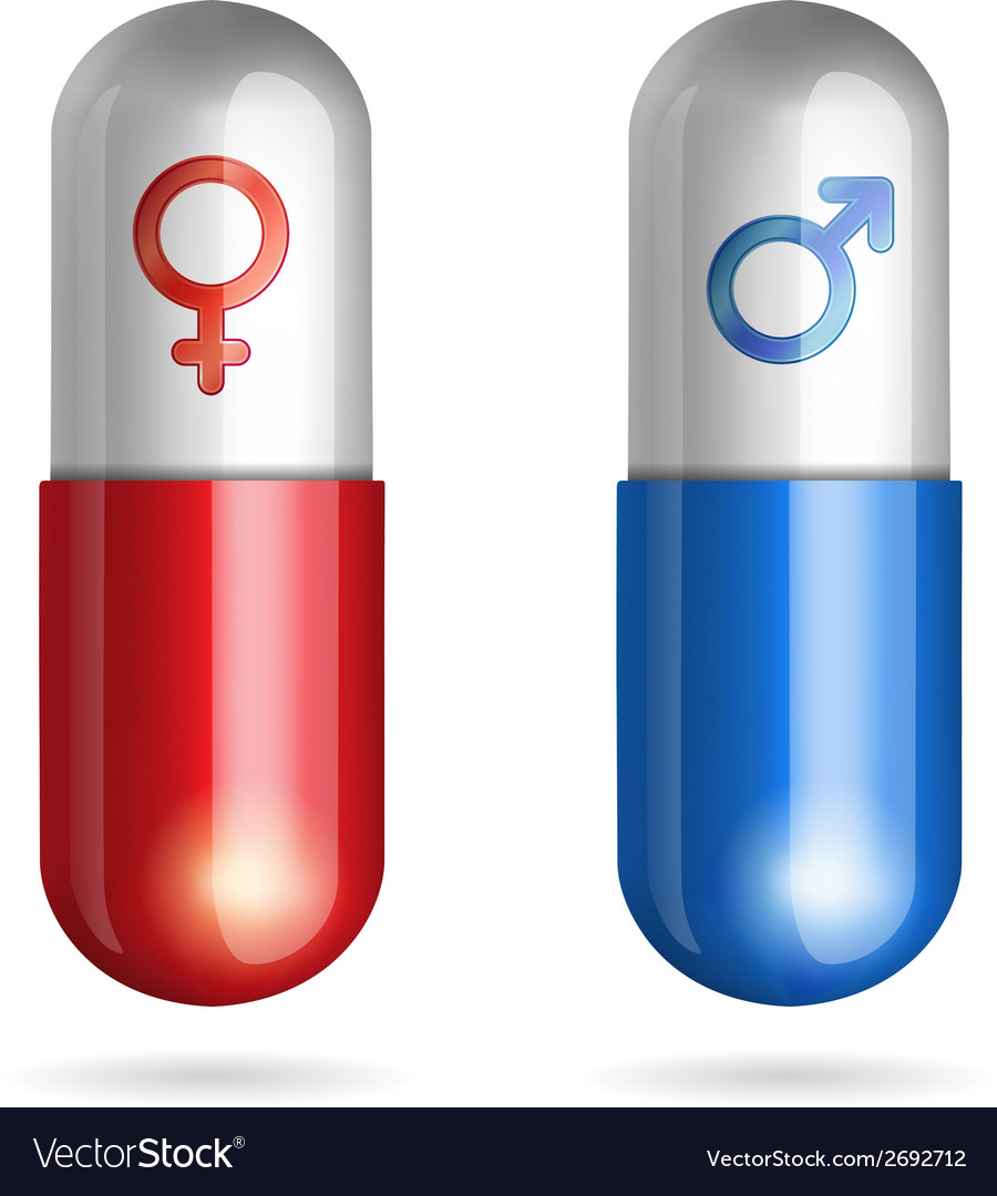 Blue and red pills with male female symbols vector | Price: 1 Credit (USD $1)
