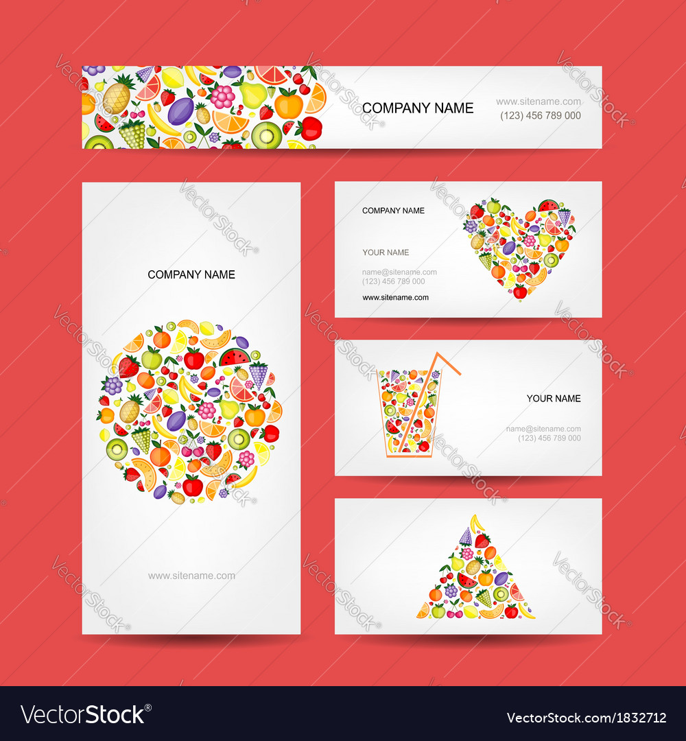 Business cards design fruit collection vector | Price: 1 Credit (USD $1)
