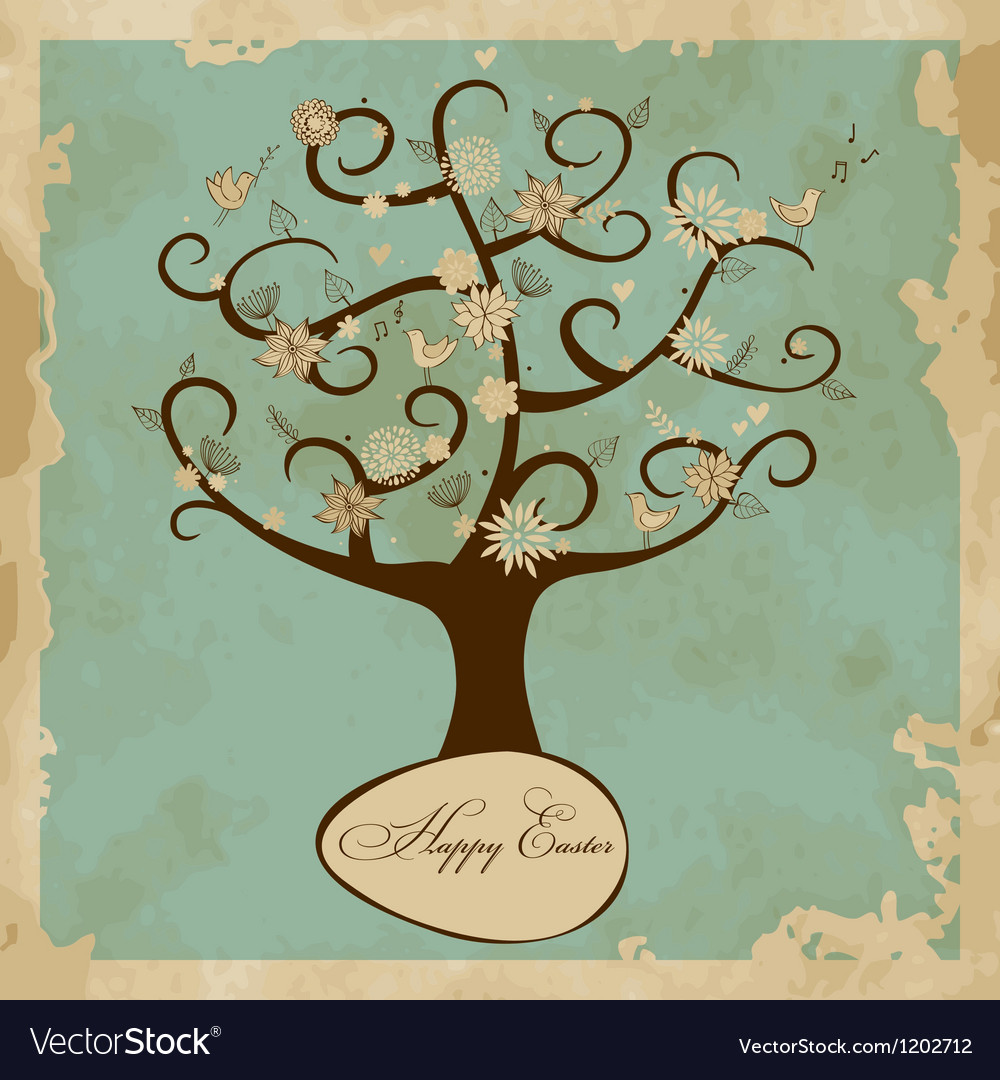 Card with easter tree vector | Price: 1 Credit (USD $1)