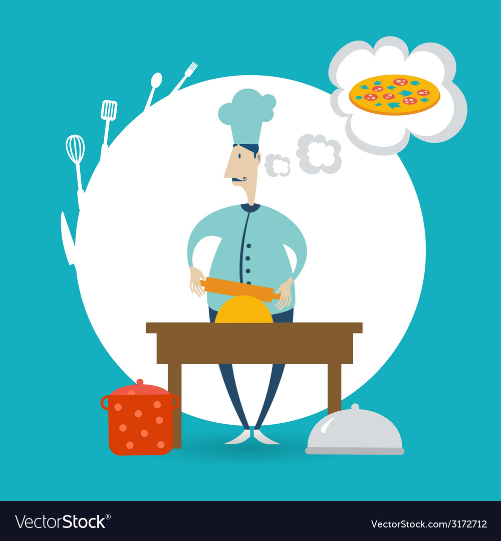Chef prepares dough vector | Price: 1 Credit (USD $1)