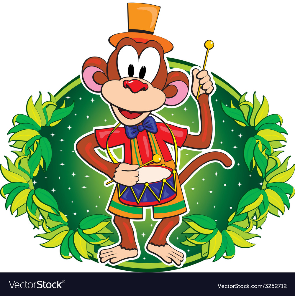 Funny monkey with a drum character vector | Price: 1 Credit (USD $1)